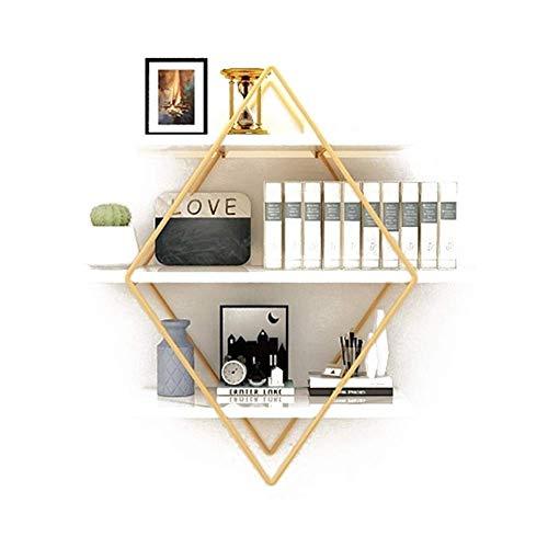 LXDDP Schwimmende Regale - Diamond Decorative Storage Shelf Regal aus Holz und Metall - Bücherregalhalter für Zuhause Wohnzimmer Schlafzimmer Küche - Runde Holz-finish Stuhl