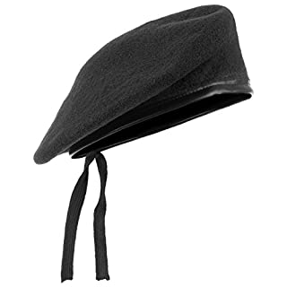 ANS Mens Ladies Hat Army Beret Leather Trim Black M