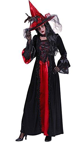 Hexen-Kleid in schwarz/rot | Hexen-Kostüm für Damen ()