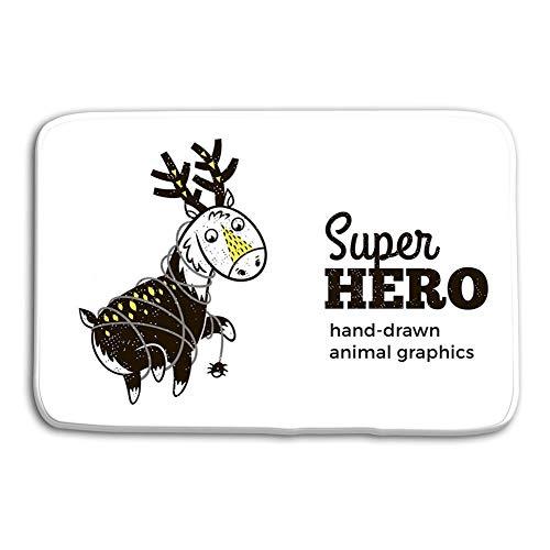 n Bad Eingangstür Matten Teppich Hirsch Superheld Kostüm Charakter Weißes Tier Kinder Cartoon Kleine Superhelden rutschfeste Badezimmermatten ()