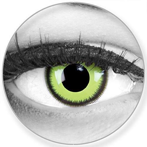 Funnylens Farbige Kontaktlinsen Green Lunatic grün weich ohne Stärke 2er Pack + gratis Behälter - 12 Monatslinsen - perfekt zu Halloween Karneval Fasching oder Fasnacht