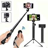 Foneso Palo para Selfie Bluetooth y trípode para Smartphone o Cámara, Color Negro (128)