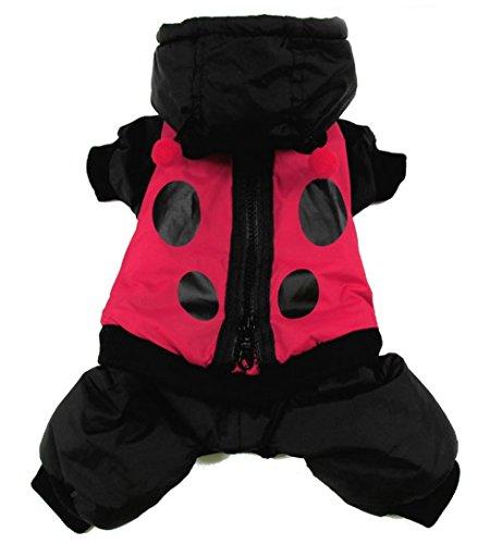 smalllee_lucky_store xy000131-l Kleiner Hund Marienkäfer Hoodie Jumpsuit, Größe L, rot