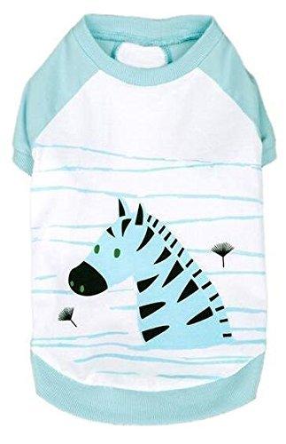 Camiseta de algodón para Perros, de Blueberry, con diseño de la Cebra Henry, en Aguamarina, Longitud de Espalda 40,64 cm, 1 Unidad