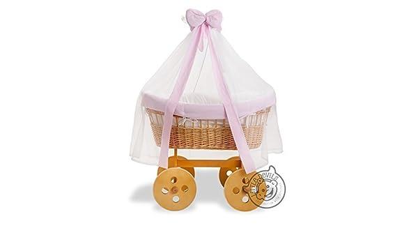 Korbwagen baby krippe bett wiege eiche ausführung & rosa rand