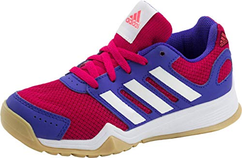 Adidas Kinder Trainingsschuhe Interplay K, Gr.-35 EU ,Rosa/Weiß/Lila
