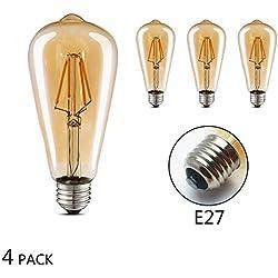Bombilla Edison Vintage Edison Bombilla LED (4W, E27, 400lm, Blanco cálido/3000K), equivalente a 40W, ideal para Nostalgie y retro iluminación Modelo ST64(φ64mm)–4Unidades jdong ST64–4P