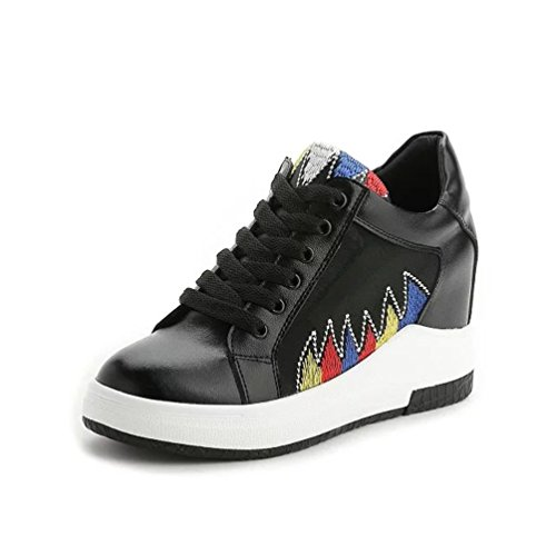 Damen Sneaker Keilabsatz Low Top Hidden Wedges Schwarz Sommer