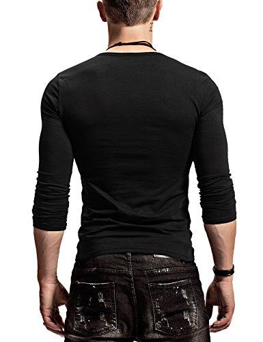XDIAN Herren Slim Fit Langarm T-Shirt Rundhals Baumwolle T-Shirt Herbst Winter Black