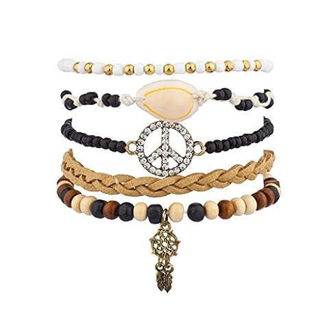 Lux Accessoires Sterling signe de paix Motif attrape-rêves Tribal Tressé perles Bras de Candy Ensemble bracelet