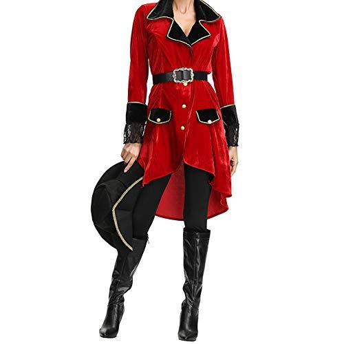 JNTM Rot Fluch Der Karibik Kleidung, Piraten Kostüm Für Damen Mit Hut, Samt Mädchen Outfit Für Weihnacht, Halloween, Festival, Kostümball, Party,XL