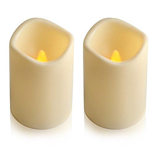 Flammenlose LED-Kerze von Eleoption für den Außenbereich mit eingebautem 6-Stunden-Timer, tägliche automatische Ein- und Ausschaltung, flackernde Stumpenkerzen, batteriebetrieben