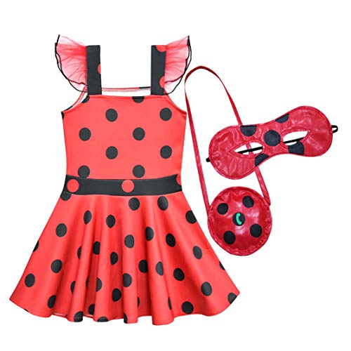 Kleid Marienkäfer Kostüm - Wetry - Kinder Prinzessin Kleid Ladybug Mädchen Marienkäfer Kostüm Party Cosplay 3er Set - Kleider, Augenmaske, Tasche