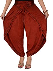 SNS Stone Wash Embroidered Aladdin Dhoti Rayon Pant (Maroon)