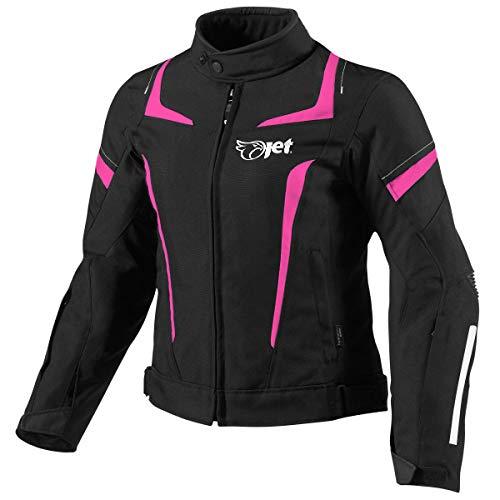 Jet Motorradjacke Damen Mit Protektoren Textil Wasserdicht Winddicht (XL (EU 42-44), Rosa)