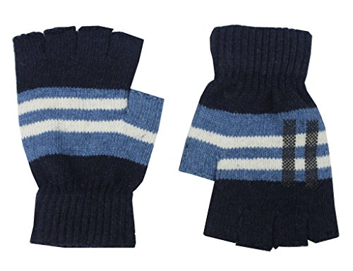 Romano Blue Fingerless Warm Winter Wool Gloves