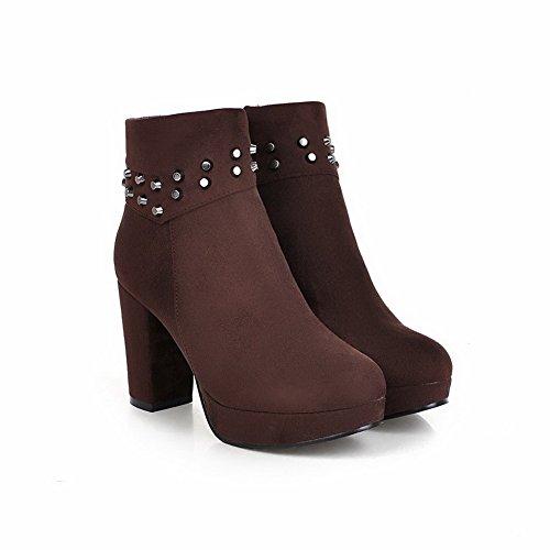 AgooLar Damen Blend-Materialien Ziehen Auf Hoher Absatz Niedrig-Spitze Stiefel Braun
