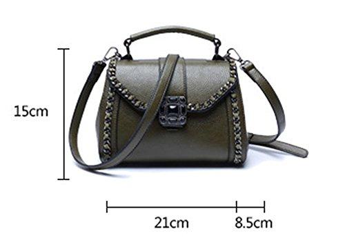 Xinmaoyuan Borse donna Lychee Pattern retrò portatile borsa tracolla messenger bag,grigio Verde