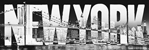 1art1 51531 New York Tür-Poster - Skyline, Schriftzug, 158 x 53 cm