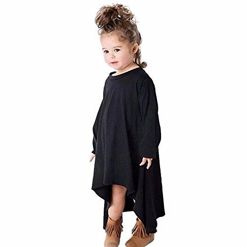 Saingace Kind-Baby-Langarm-Fest Baumwolle Rotating Kleid (100, Schwarz) (Sleeper Footed Jungen)