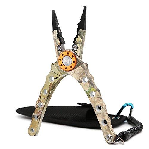 Sanlike alluminio pinze di pesca braid cutters hook remover, con anello per tipi di forbici per esterni, sc-43camouflage-fba
