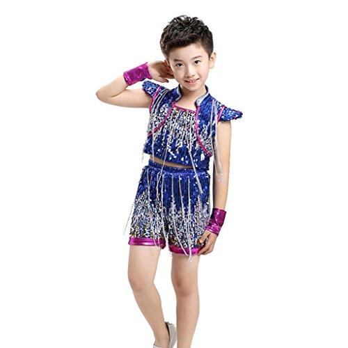 Wgwioo kinder jazz tanz kostüme jungen mädchen kinderbekleidung hosen performance kleidung zeigen klassische sequins studenten chor gruppe team , boy , (Rumba Boy Kostüm)