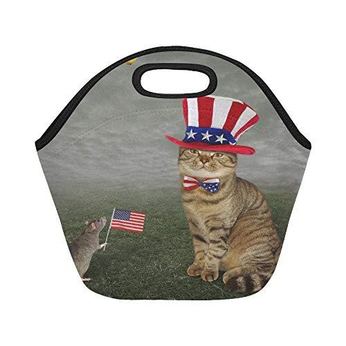 Isolierte Neopren-Lunchpaket-nette Katze, die amerikanischen patriotischen Hut-großen wiederverwendbaren thermischen starken Mittagessen-Tragetaschen für Lunch-Kästen für im Freien, Arbeit trägt