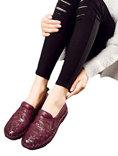 Vogstyle Femmes Chaussures Spring Pure Color Loisirs Flat Burgendy