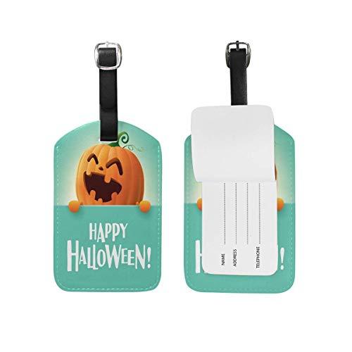 Happy Pumpkin Bat Halloween Luggage Tags Travel Bag Tag Suitcase 2 Pieces Set