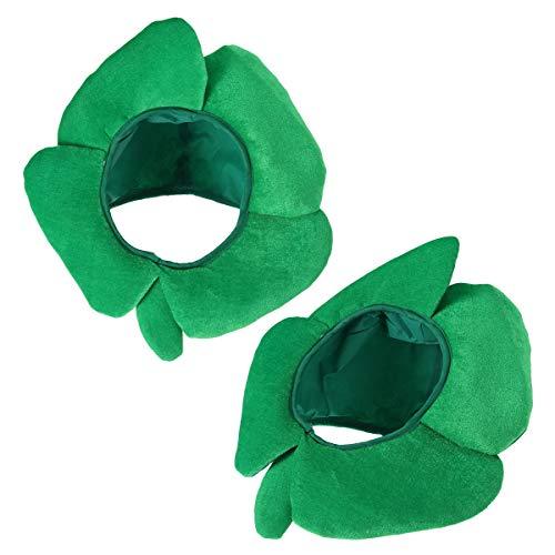 BESTOYARD 2 Stück Lustige St. Patricks Day Hats Stirnband Vier Kleeblatt Irish Shamrock Velvet Hats Irland St Patrick's Headgear Stirnband Kostüm Zubehör