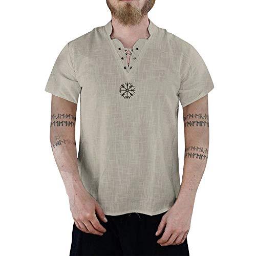 Herren Leinenhemd Vintage Kurzarmshirt Leinen Hemd V-Ausschnitt Oversize T-Shirt Button-down Muskelshirt Sommer Kurze Tops weiß Sweatshirt Ethnic Pullover Schnelltrocknend Tanktops -