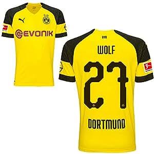 Puma BVB Borussia Dortmund Home Trikot mit Bundesliga Logo 2018 2019 Kinder Wolf 27 Gr 140