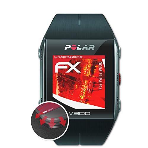 atFoliX Schutzfolie passend für Polar V800 Folie, entspiegelnde & Flexible FX Bildschirmschutzfolie (3X)
