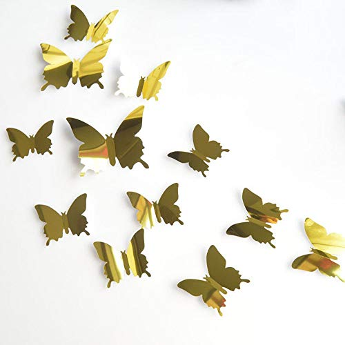 Bobopai 12Pcs 3D Mirror Butterfly DIY Wall Stickers Home Room Art Decoration Silver (Gold) -