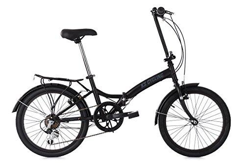 KS Cycling Faltrad Foldtech 6 Gänge Fahrrad, schwarz, 20 Zoll