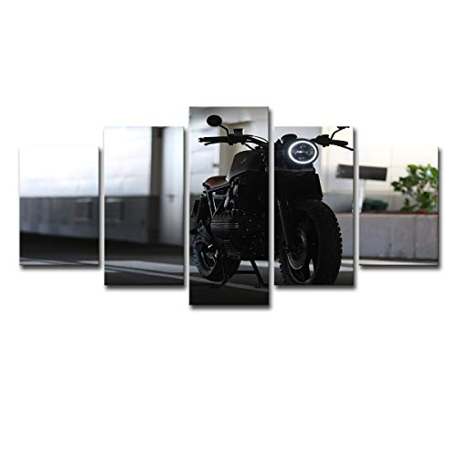Five-Seller 5 Pezzi Pittura A Olio BMW K100 Moto Stampe su Tela Immagini Wall Art Modern Decor Opere per Soggiorno Camera da Letto Decorazione della Casa (con Cornice,50_x_100_cm)