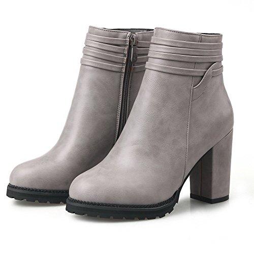 VogueZone009 Damen Niedrig-Spitze Reißverschluss Weiches Material Hoher Absatz Stiefel Grau