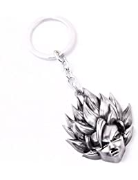 Superhero Movie Dragon Ball Z Son Goku Gokou Head 3d Metal Key Chain (Silver) For Cars And Bike