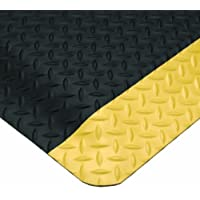 """Wearwell PVC 414 UltraSoft Diamond-Plate Heavy Duty Anti-Fatigue Mat, Safety Beveled Edges, for Dry Areas, 2' Width x 3' Length x 15/16"""" Thickness, Black / Yellow by Wearwell Industrial"""