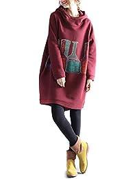 Mieuid Mujer Sudadera con Capucha Largos Elegante Invierno Manga Largo Impresión Vestidos con Capucha Anchos Fashion