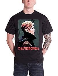 David Bowie T Shirt Low Portrait Profile Band Logo officiel Homme nouveau Noir