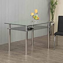 Home Centre Floris Tempered Glass and Stainless Steel Dining Table- 6 Seater