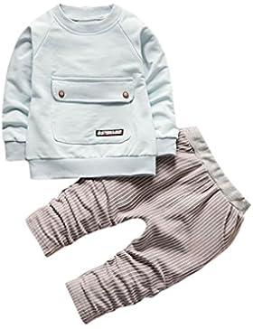 Omiky® Kleinkind Kinder Baby Jungen Mädchen Outfits T-Shirt Tops + Streifen Lange Hosen Kleider Set