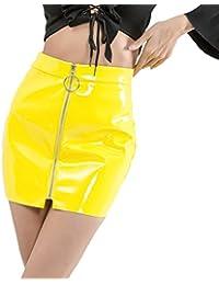 Faldas Mujer Talle Alto De Cuero con Cremallera Falda Tubo Elegantes Atractivo Moda Ropa Fiesta Modernas