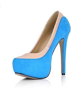 Best 4U® Scarpe alla caviglia da donna Elastic Velvet Stiletto 14CM Tacchi alti 3CM Piattaforma Punta tonda Primavera...