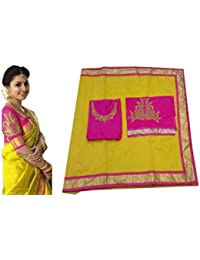 Bollywood Indian Sari Party Wear Saree with Yellow Color, Formal, Hochzeit, Causal, Function, Karneval, Birthday Dress