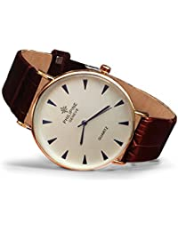 Latest Formal Dashing Stylish Round White Dial Watch With Brown Leather Strap For Men, Gents And Boys