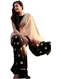 Swara Fashion Women's Georgette Thread Work Saree(SFPSN-61_Cream, Brown)
