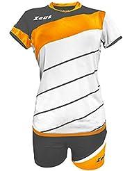 Zeus Kit Lybra Femme-Blanc Orange Fluo-Gris Foncé Volleyball Set Complet Tournoi École Sport Training Volley Pegashop