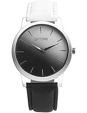Watches Loveso Damen Frauen OKTIME Regenbogen Bunte Quarz Armbanduhr (Schwarz)